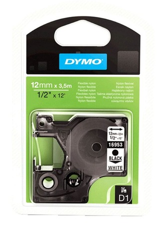 Ruban nylon Dymo D1 blanc, 12 mm